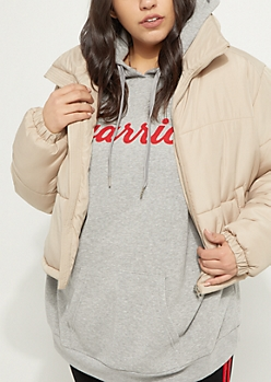 Plus Sand Cropped Puffer Jacket