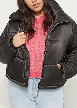 Plus Black Space Cropped Puffer Jacket
