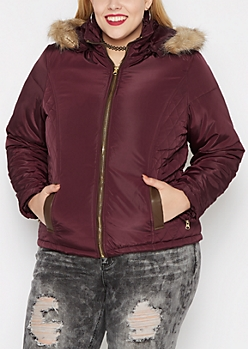 Plus Burgundy Quilted Faux Fur Hooded Coat