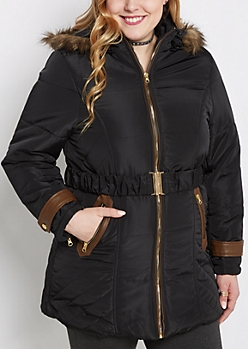 Plus Belted Faux Fur Hooded Coat