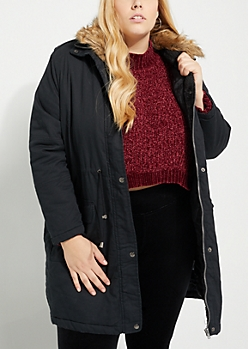 Plus Faux Fur Hooded Twill Anorak