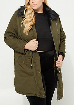 Plus Olive Faux Fur Hooded Twill Anorak