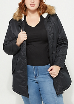 Plus Quilted Hooded Black Anorak