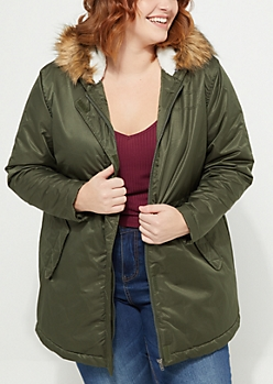 Plus Olive Faux Fur Hooded Nylon Anorak