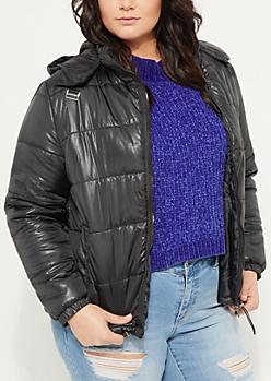 Black Asymmetrical Puffer Coat