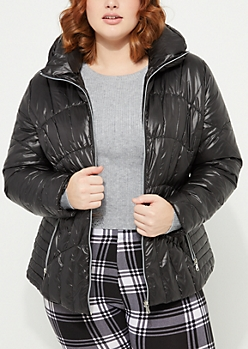 Plus Quilted Down Puffer Coat