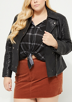 Plus Black Faux Leather Asymmetrical Moto Coat