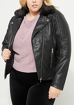 Plus Black Faux Fur Collar Moto Jacket