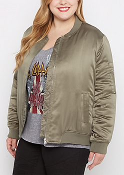 Plus Olive Satin Bomber Jacket