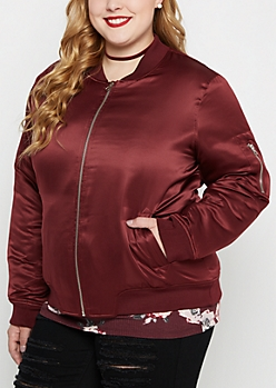 Plus Burgundy Satin Bomber Jacket