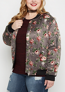 Plus Rose Satin Bomber Jacket