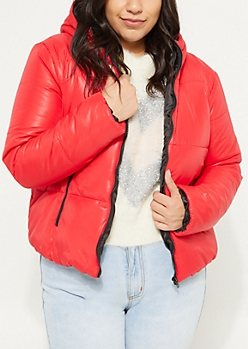 Plus Red Hooded Puffer Jacket