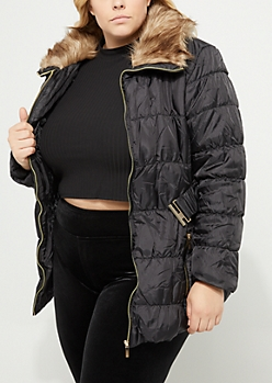 Plus Black Faux Fur Collar Puffer Anorak