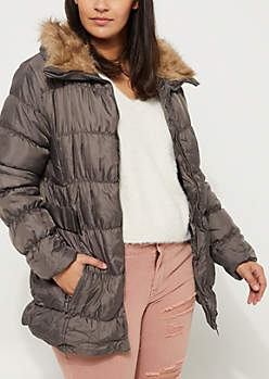 Plus Gray Belted  Ruched Sherpa Lined Puffer Jacket