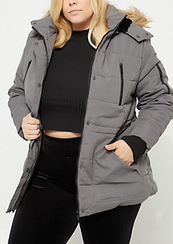Plus Quilted Longline Gray Anorak With Detachable Hood