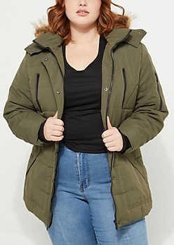 Plus Quilted Longline Olive Anorak With Detachable Hood
