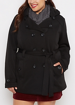 Plus Black Vegan Fur Lined Jersey Peacoat