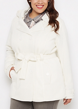 Plus White Vegan Fur Lined Jersey Peacoat