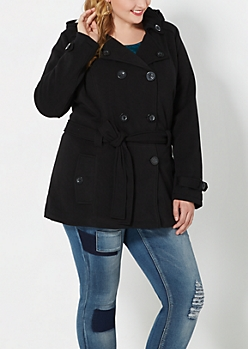 Plus Black Fleece Lined Pea Coat