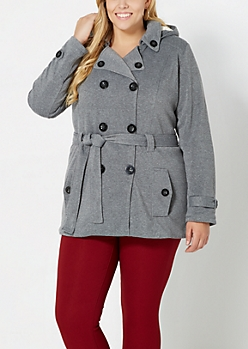 Plus Gray Fleece Lined Pea Coat