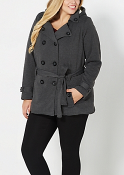 Plus Charcoal Gray Fleece Lined Pea Coat