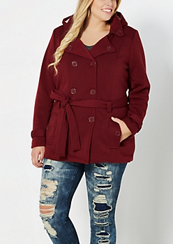 Plus Burgundy Fleece Lined Pea Coat