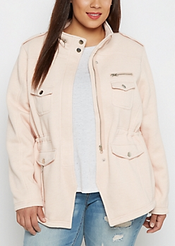Plus Pink Knit Anorak Jacket