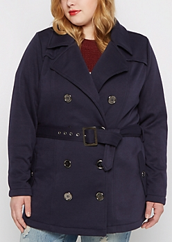 Plus Navy Belted Peacoat
