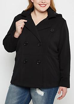 Plus Black Hooded Peacoat