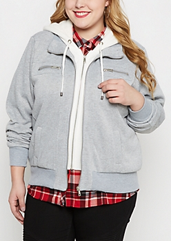 Plus Gray Double Zip Fleece Hoodie