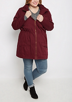 Plus Burgundy Sherpa Lined Anorak