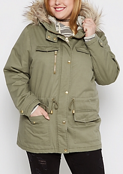 Plus Faux Fur Trimmed Anorak