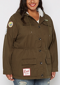 Plus Military Fur Anorak