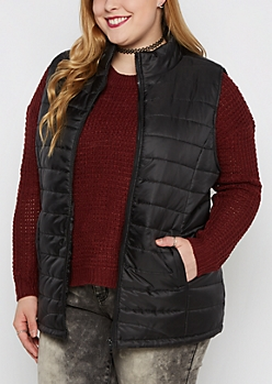 Plus Black Mock Neck Puffer Vest