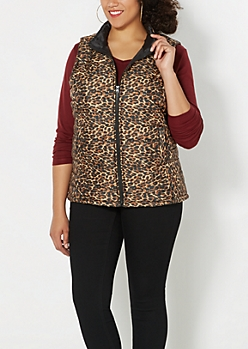 Plus Brown Leopard Quilted Puffer Vest