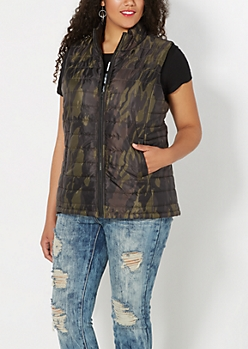 Plus Camo Quilted Puffer Vest