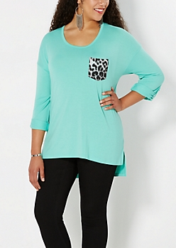 Plus Mint Green Leopard Pocket Top