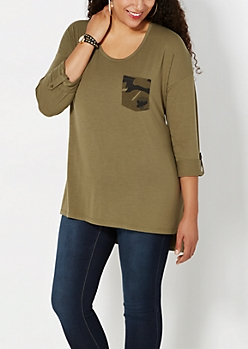 Plus Green Camo Pocket Top