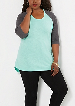 Plus Light Green Thermal Baseball Tee