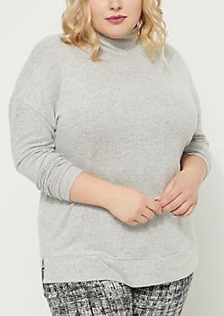 Plus Gray Soft Knit Mock Neck Top