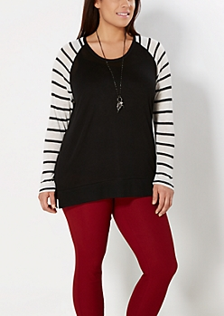 Plus Black Mixed Stripe Raglan Top