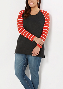 Plus Gray Mixed Stripe Raglan Top