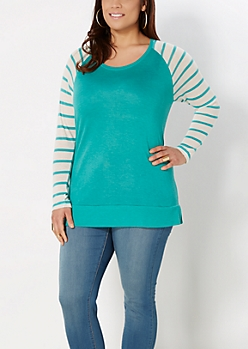Plus Mint Mixed Stripe Raglan Top