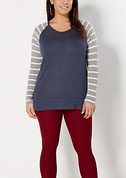 Plus Blue Mixed Stripe Raglan Top