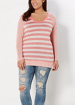 Plus Peach Mixed Stripe Raglan Top