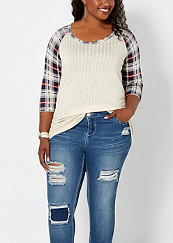 Plus Navy Plaid Ribbed Raglan Top