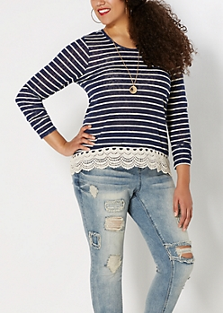 Plus Navy Crochet Hem Striped Burnout Top