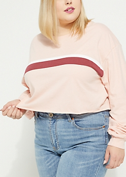 Plus Pink Double Striped Crop Top