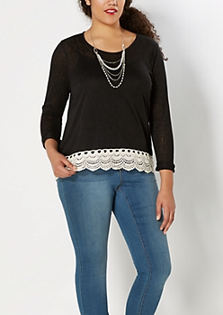 Plus Black Crochet Hem Burnout Top