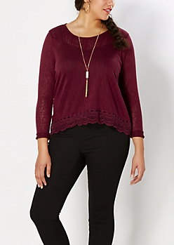Plus Burgundy Crochet Hem Burnout Top